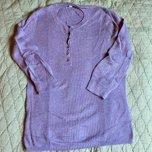 Gap blue L cotton blend ribbed 3/4 sleeve henley